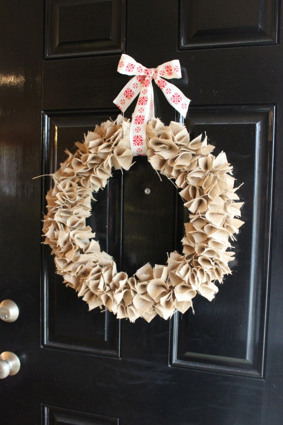 Choose a beautiful ribbon and hang your lovely wreath on the door. Now step back and smile.