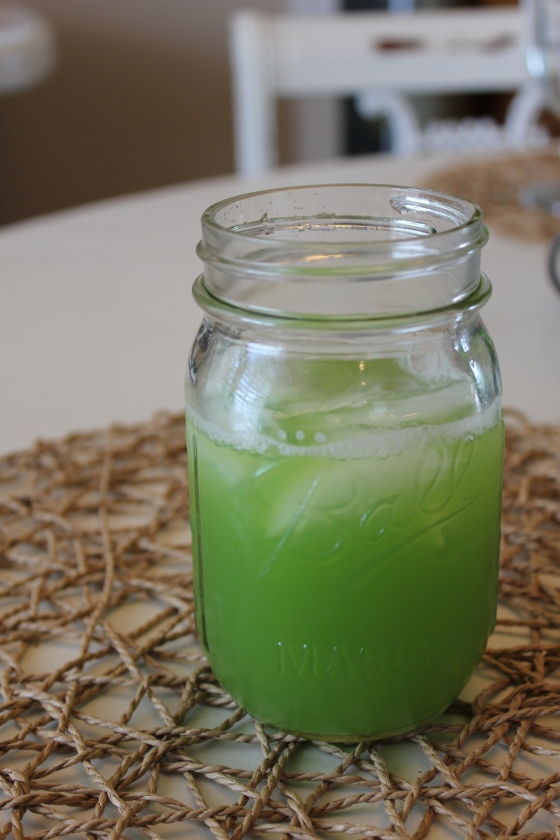 I was able to get about one mason jar full of juice from my 2 cucumbers. Feel free to sweeten with sugar, agave, honey, or anything else you enjoy!